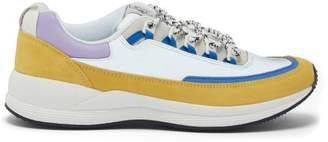 X Brain Dead Jay Leather Trim Trainers - Mens - White Multi