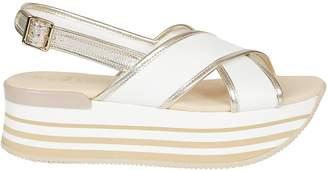 Hogan Chunky Heel Wedge Sandals
