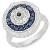 Judith Ripka La Petite Sterling Silver, Black Sapphire, Blue Sapphire & White Topaz Ring