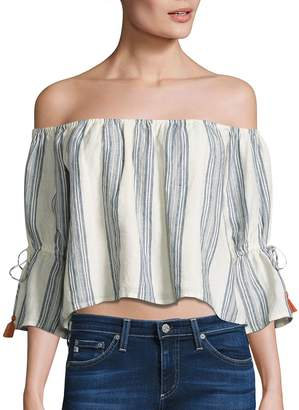 Tularosa Alexa Striped Off-The-Shoulder Bell Sleeves Cropped Top