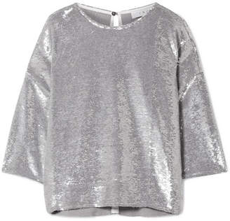 IRO Naphe Oversized Sequined Cotton T-shirt - Silver