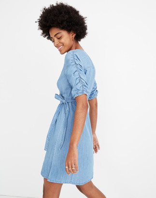 54df5cfe06 Madewell Denim Shirred-Sleeve Wrap Dress in Elsworth Wash
