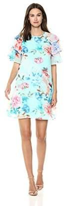 Calvin Klein Women's Chiffon Ruffle Sleeve Shift Dress