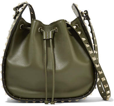 Valentino - The Rockstud Leather Bucket Bag - Army green