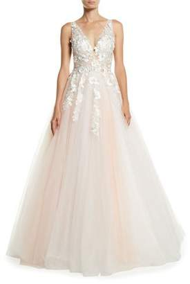 Jovani V-Neck Sleeveless Tiered Organza Ball Gown w/ Floral Appliques