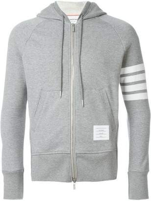 Thom Browne 4-bar zip-up jersey hoodi