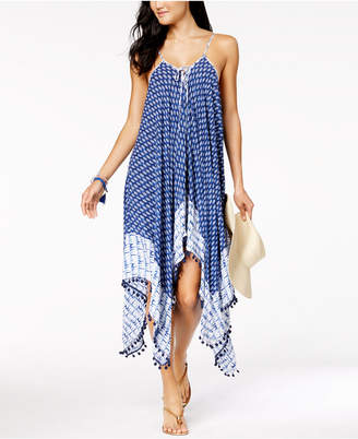Jessica Simpson Bondi Tie-Dyed Lace-Up Handkerchief-Hem Cover-Up Dress