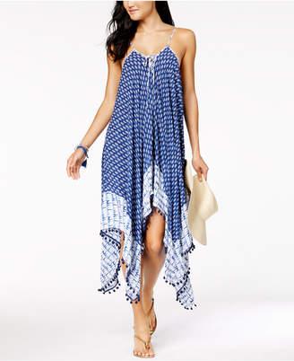 Jessica Simpson Bondi Tie-Dyed Lace-Up Handkerchief-Hem Cover-Up Dress Women's Swimsuit
