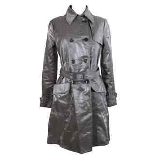 Armani Collezioni Silver Linen Trench coats