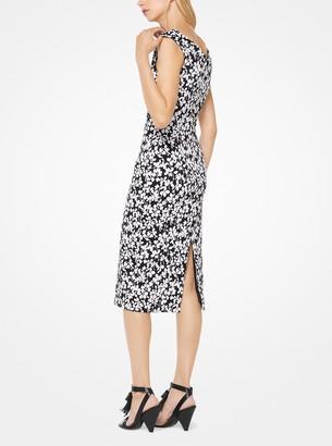 Michael Kors Floral Stretch-Jacquard Sheath Dress
