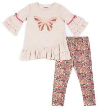 Little Lass Sequin Butterfly Ruffled Sleeve Sweater Knit Top & Legging, 2-Piece Outfit Set (Little Girls)