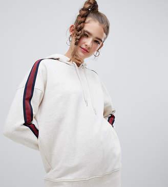 Monki longline hoodie in oat melange