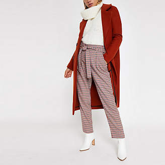 River Island Womens Red check tie waist tapered trousers