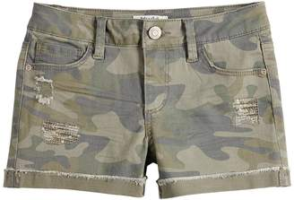 Mudd Girls 7-16 & Plus Size Distressed Camouflage Shorts