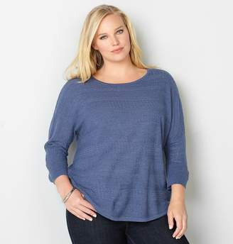 Avenue Solid Textured Stripe Dolman Sweater