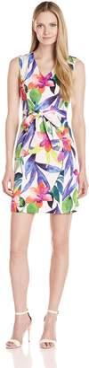 Ellen Tracy Women's Tropical Floral Print Dress with Self Belt, White/Multi