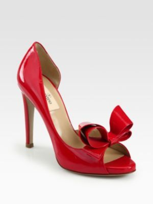 Valentino Patent Leather Couture Bow D'Orsay Pumps