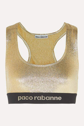Paco Rabanne Metallic Stretch-jersey Sports Bra - Gold