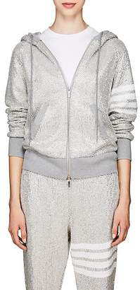 Thom Browne Women's Faceted-Jewel Cotton Hoodie - Silver