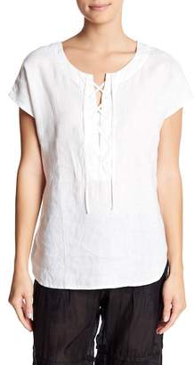 Johnny Was Lace-Up Short Sleeve Linen Top