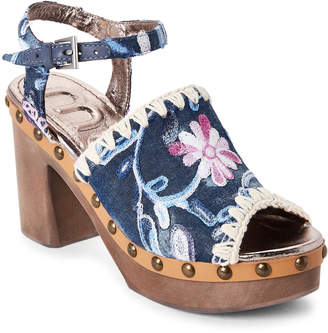 Mou Floral Embroidered Denim Wooden Heel Sandals