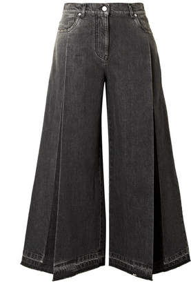 Valentino The Rockstud Cropped Pleated Wide-leg Jeans - Black