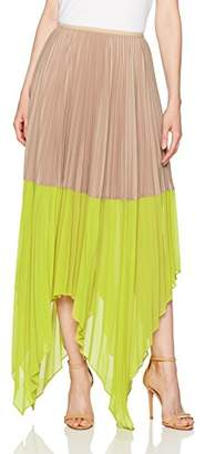 BCBGMAXAZRIA Women's Christy Woven Colorblock Pleated Skirt