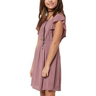 O'Neill Girls' Chaser Woven Dress with Ruffle Sleeve