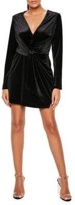 Missguided Velvet Wrap Sheath Dress