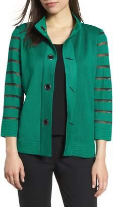 Ming Wang Stripe Sleeve Knit Jacket