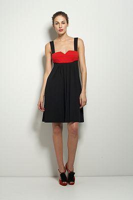 Labios Dress in Black & Red