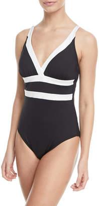 LaBlanca La Blanca Modern Muse V-Neck Cutout-Back One-Piece Swimsuit, Plus