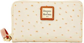 Dooney & Bourke Ostrich Zip Around Phone Wristlet