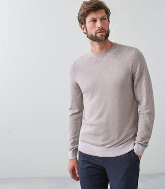 Reiss Our last order date for Christmas has now passed MORTON COLOUR BLOCK CREW NECK JUMPER Taupe
