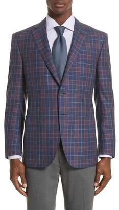 Canali Classic Fit Plaid Cashmere Blend Sport Coat