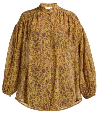 Zimmermann Juniper Crinkle Cotton Blend Shirt - Womens - Gold Multi