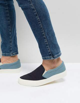 Asos Design Slip On Plimsolls In Two Tone Chambray And Navy