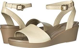 Crocs Women's Leighann Anklestrap Lthr Wedge Sandal