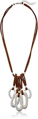 Robert Lee Morris Silver and Leather Chain Long Pendant Necklace