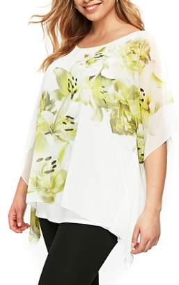 Evans Boutique Ivory Lime Overlay Top