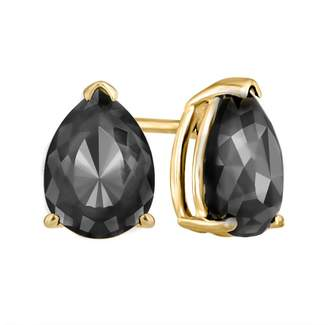 Black Diamond 14K Yellow Gold Luv Eclipse 1.6ct Patented Cut Treated Earrings