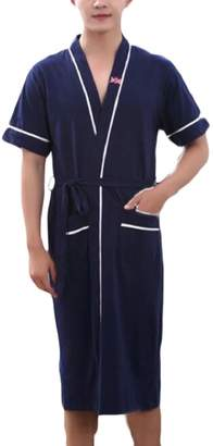 d2188943df LKCEN-CA Mens Nightgown Robe Lightweight Solid Color Pockets Bathrobe 3 L
