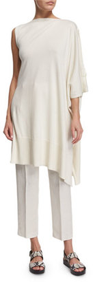 Maison Margiela Asymmetric Poncho Sweater, Off White $480 thestylecure.com