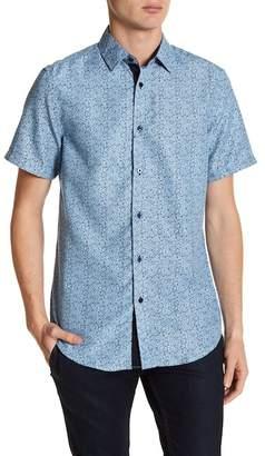 BERTO ROMANI Mini Floral Printed Short Sleeve Regular Fit Shirt