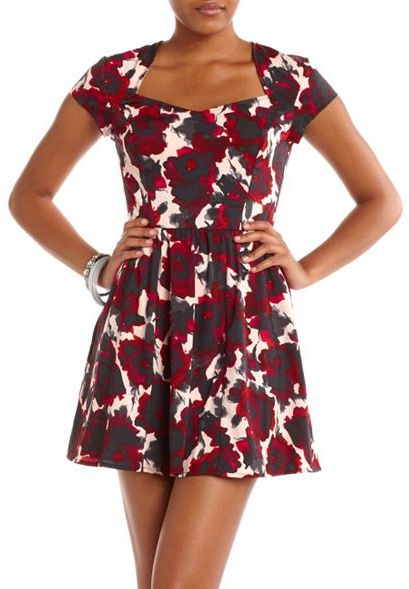 Charlotte Russe Open Back Floral Skater Dress