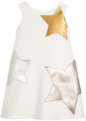 Zoe Starlet Neoprene Knit Dress w/ Metallic Stars, Size 4-6X