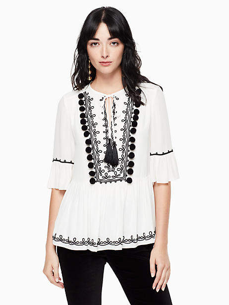 Pom embroidered top