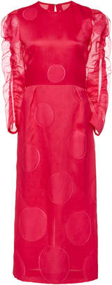 Carolina Herrera Ruffle Sleeve Knee Length Dress