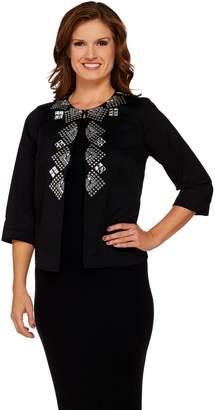 Joan Rivers Classics Collection Joan Rivers Geometric Embellished Jacket w/ 3/4 Sleeves