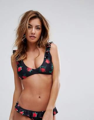Missguided Mix & Match Rose Print Frill Bikini Top